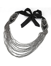 Bohemia Black+anti-silver Color Bowknot Shape Decorated Multilayer Design Necklace