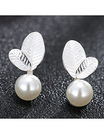Sweet Silver Color Leaf Shape Decorated Pearl Ball Design Earring