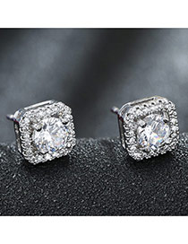 Sweet Silver Color Round Diamond Decorated Square Design Earring