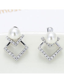 Sweet Silver Color Doule Square Shape Decorated Pearl Ball Earring