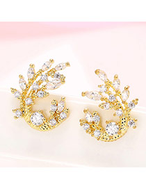 Sweet Gold Color Waterdrop Diamond Decorated Leaf Shape Earring