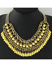 Vintage Yellow Water Drop Shape Beads Decorated Hand-woven Simple Necklace