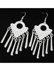 Fashion Silver Color Vertical Shape Decorated Pure Color Simple Earrings