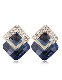 Fashion Sapphire Blue+golden Color Diamond&square Shape Gemstone Decorated Three-dimensional Earrings