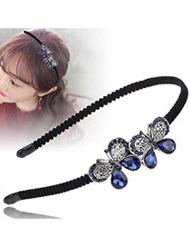 Vintage Sapphire Blue Two Bowknots Decorated Simple Hair Hoop