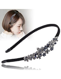Vintage Black+silver Color Flower&diamond Decorated Simple Hair Hoop