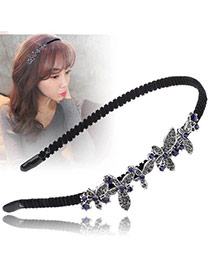 Vintage Black+silver Color Diamond Decorated Butterfly Shape Design Hair Hoop
