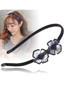 Vintage Sapphire Blue+black Diamond Decorated Hollow Out Flower Simple Hair Hoop