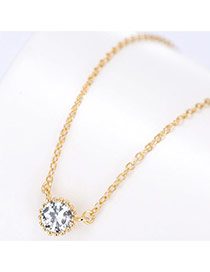 Fashion Gold Color Round Shape Diamond Pendant Decorated Simple Necklace