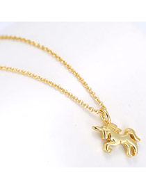 Sweet Gold Color Cockhorse Pendant Decorated Pure Color Simple Necklace