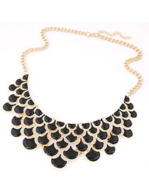 Trendy Black Geometric Shape Design Hollow Out Pure Color Necklace