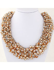 Fashion Brown Bead Decorated Hand-woven Pure Color Design Necklace