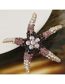 Elegant Black Diamond Decorated Starfish Design Simple Brooch