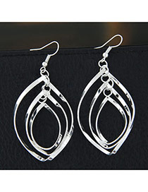 Fashion Silver Color Pure Color Decorated Holloe Out Design Mytilayer Earrings