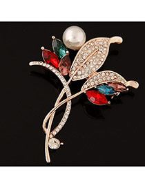 Delicate Multi-colour Round Shape Decorated Leaf Design Simple Brooch