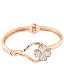 Elegant Gold Color+black Diamond Clover Shape Decorated Simple Bracelet