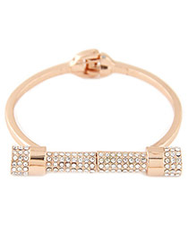 Elegant Gold Color Diamond Geometric Shape Decorated Simple Bracelet