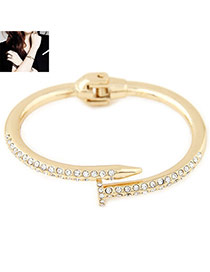 Exaggerated Gold Color Diamond Decorated Nail Shape Simple Bracelet