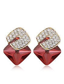 Sweet Red Diamond Decorated Three-dimensional Square Gemstone Earring