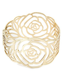 Sweet Gold Color Rose Flowe Decorated Hollow Out Bracelet