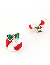 Cute Red+green Christmas Series Shape Decorated Dissymmetry Earring