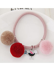 Bohemia Pink Bird&fuzzy Ball Shape Pendant Decorated Simple Hair Brand