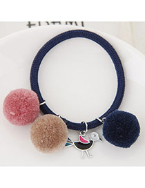 Bohemia Dark Blue Bird&fuzzy Ball Shape Pendant Decorated Simple Hair Brand