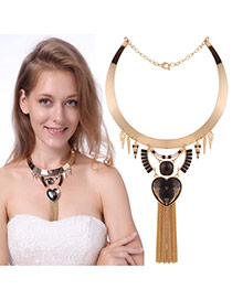 Fashion Gold Color+black Heart Shape&long Tassel Pendant Decorated Collar Necklace