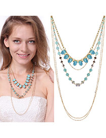 Fashion Blue Water Drop Shape Gemstone Decorated Multi-layer Necklace