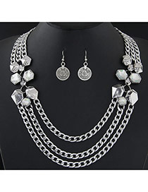 Fashion Silver Color Geometric Shape Diamond Decorated Multi-layer Simple Necklace