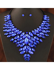 Trendy Sapphire Blue Oval Shape Gemstone Decorated Multi-layer Jewelry Sets