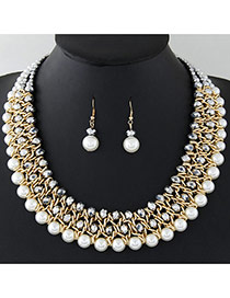 Fashion Gray+white Pearls&diamond Decorated Multi-layer Jewelry Sets