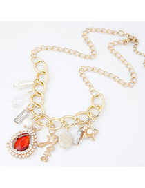 Fashion Orange+gold Color Flower&water Drop Shape Diamond Pendant Decorated Simple Necklace