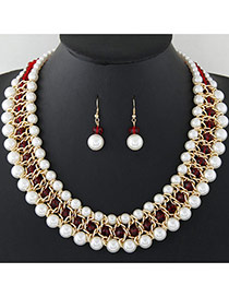 Fashion White+red Pearls Decorated Multi-layer Hand-woven Jewelry Sets