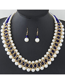 Fashion White+sapphire Blue Pearls Decorated Multi-layer Hand-woven Jewelry Sets