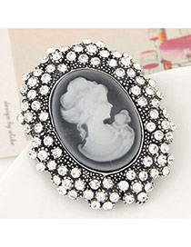 Fashion Silver Color Lady Pattern Decorated Full Diamond Design Simple Brooch
