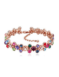 Fashion Multi-color Gemstone Shape Diamond Decorated Simple Bracelets