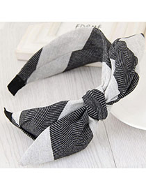 Fashion Black+gray Color Matching Design Bowknot Shape Simple Hair Clasp
