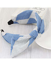 Fashion Blue+gray Color Matching Design Bowknot Shape Simple Hair Clasp