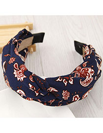 Fashion Multi-color Flower Pattern Decorated Knot Shape Design Simple Hair Clasp