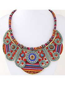 Trendy Multi-color Round Shape Gemstone Decorated Hollow Out Design Collar Necklce