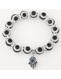 Personlity Black Metal Palm Pendant Decorated Eyes Design Simple Bracelet