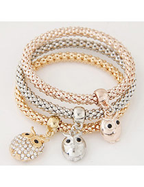 Elegant Muti-color Owl Pendant Decorated Multilayer Simple Bracelet