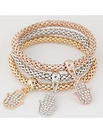 Elegant Muti-color Metal Palm Pendant Decorated Multilayer Bracelet