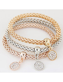 Elegant Muti-color Round Shape Pendnat Decorated Multilayer Bracelet