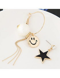 Sweet Gold Color Smiling Face &star Shape Decorated Asymmetry Earrings