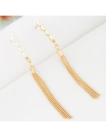 Elegant Gold Color Round Shape Diamond Decorated Long Chain Earrings