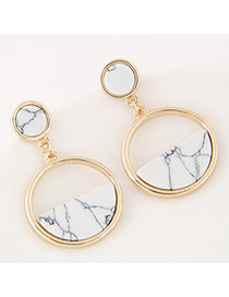 Elegant White Semi-circle Gemstone Decorated Round Shape Earrings