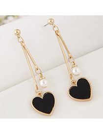 Sweet Black Heart Shape Pendant Decorated Smple Long Earrings