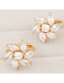 Delicate White Oval Shape Diamond Decorated Flower Earrings